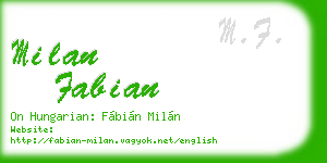 milan fabian business card